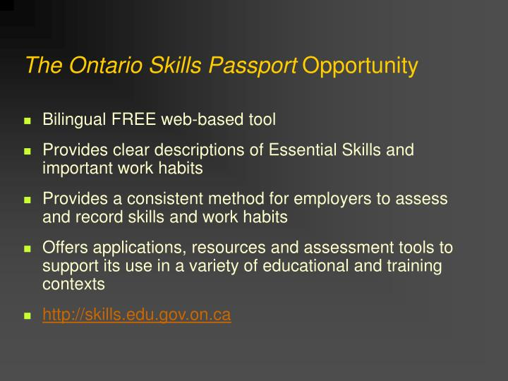 The ontario skills passport opportunity