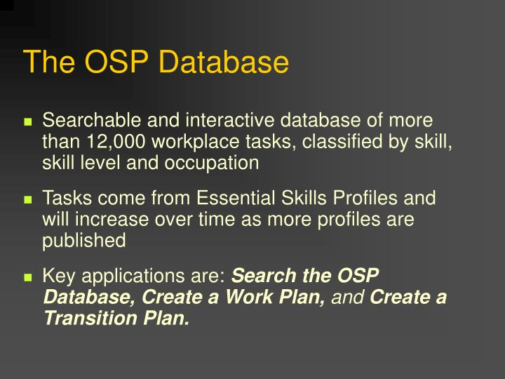 The OSP Database