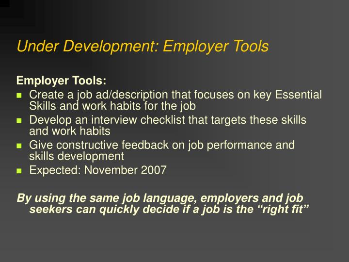 Under Development: Employer Tools