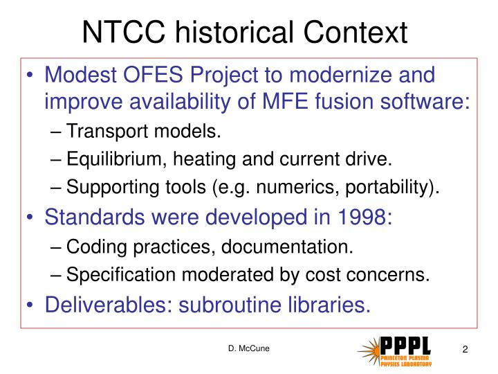Ntcc historical context