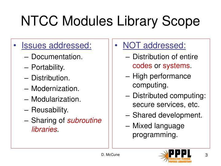 Ntcc modules library scope
