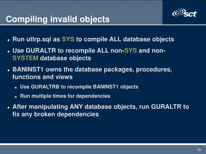 Compiling invalid objects