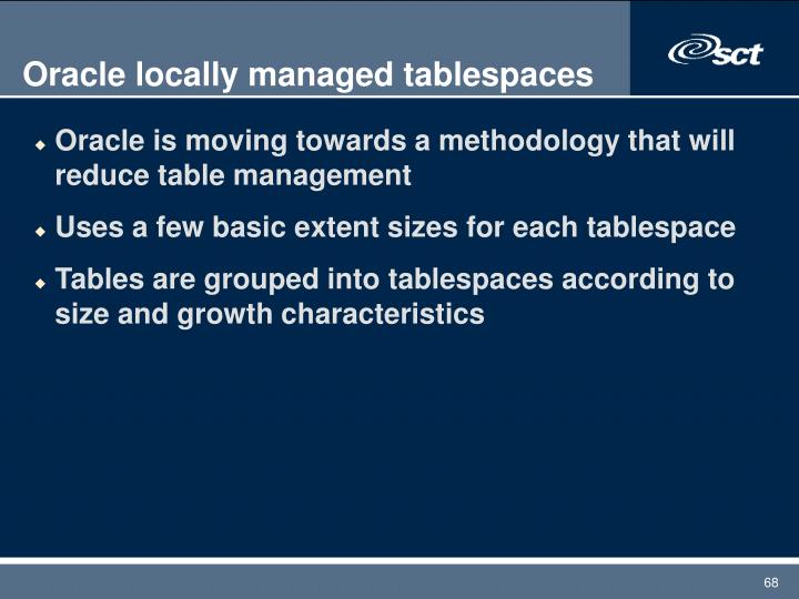 Oracle locally managed tablespaces
