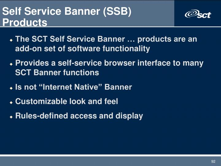 Self Service Banner (SSB) Products