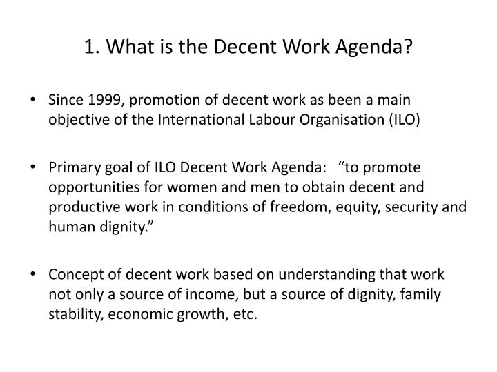 1 what is the decent work agenda