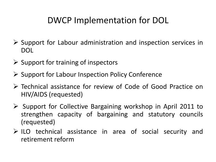 DWCP Implementation for DOL