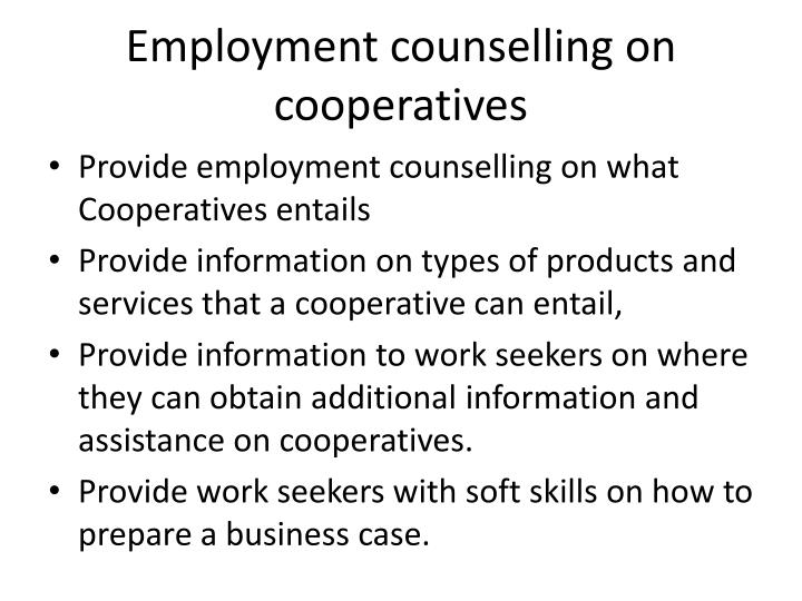 Employment counselling on cooperatives