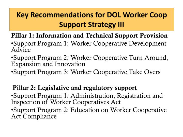 Key Recommendations for DOL Worker Coop Support Strategy III