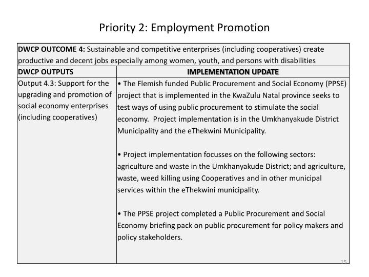 Priority 2: Employment Promotion