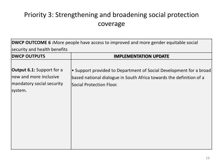 Priority 3: Strengthening and broadening social protection coverage