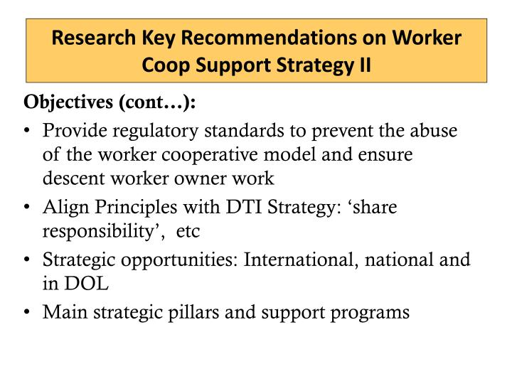 Research Key Recommendations on Worker Coop Support Strategy II