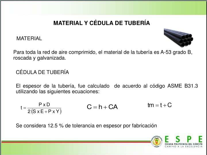 MATERIAL Y CÉDULA DE TUBERÍA