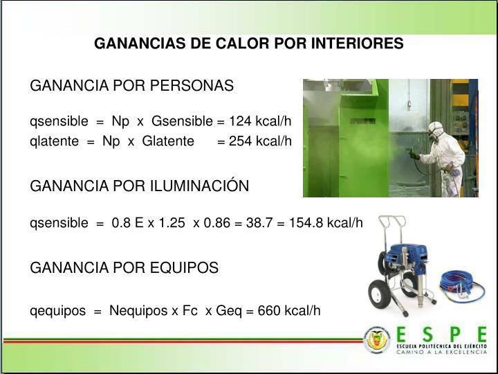 GANANCIAS DE CALOR POR INTERIORES