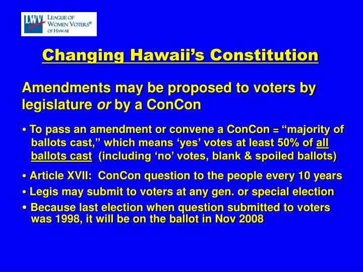 Changing Hawaii's Constitution