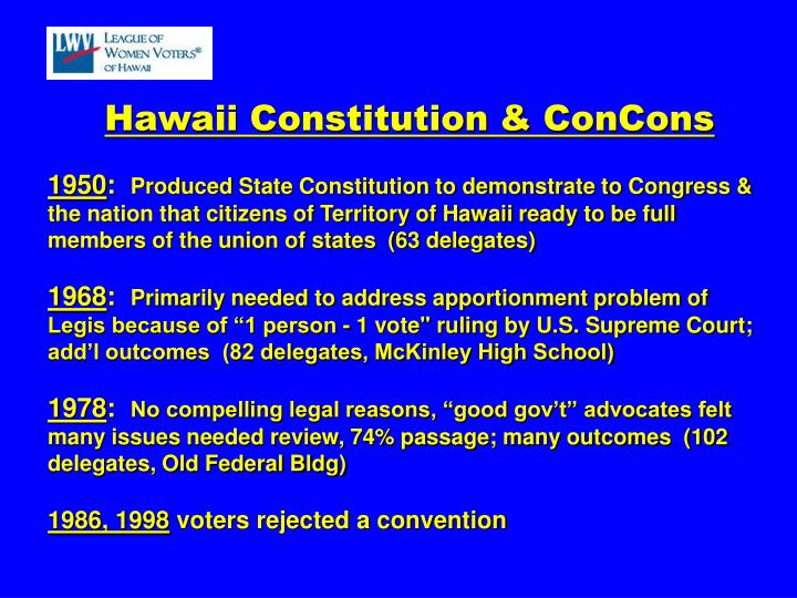 Hawaii Constitution & ConCons