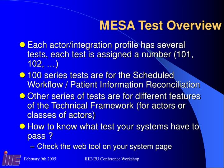 MESA Test Overview