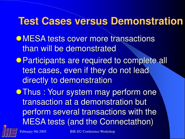 Test Cases versus Demonstration