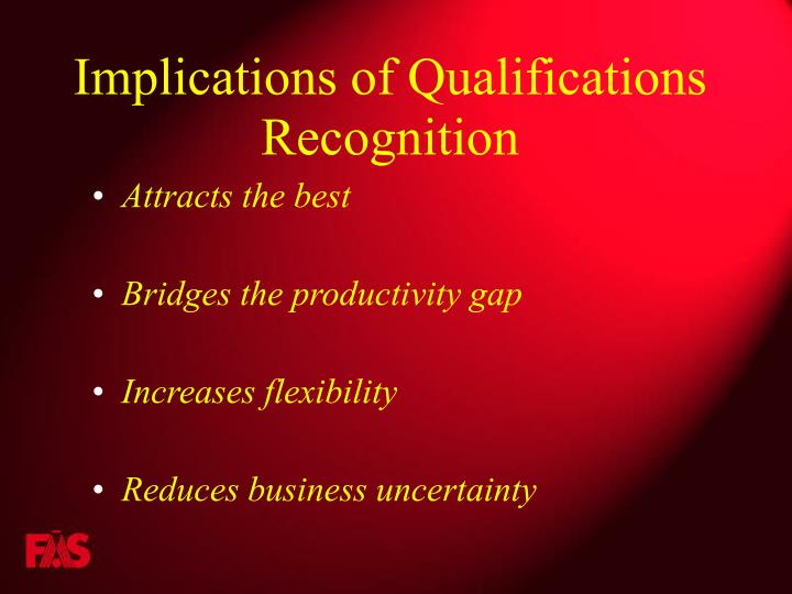 Implications of Qualifications Recognition