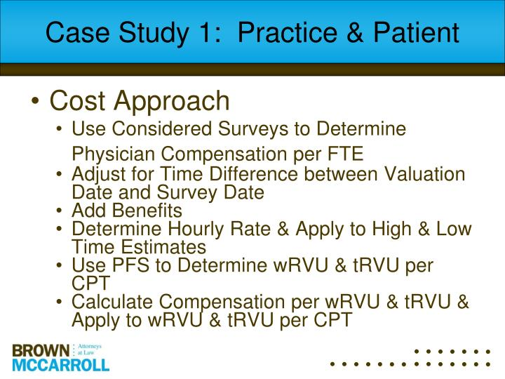 Case Study 1:  Practice & Patient