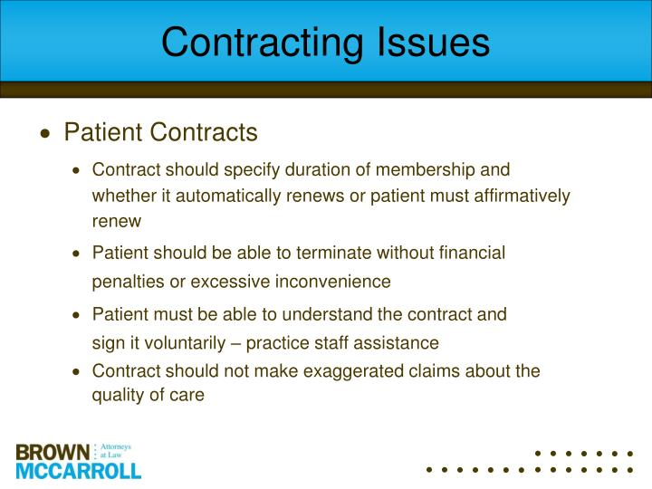 Contracting Issues