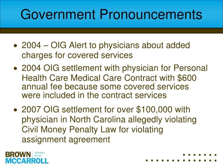 Government Pronouncements