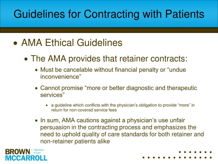 Guidelines for Contracting with Patients