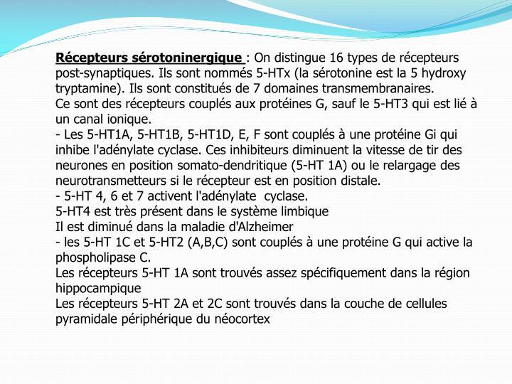 Récepteurs sérotoninergique