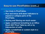 easy to use pivottables cont