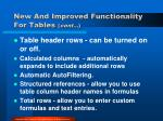 new and improved functionality for tables cont