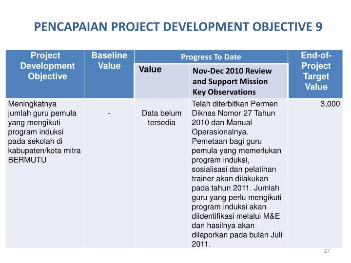 PENCAPAIAN PROJECT DEVELOPMENT OBJECTIVE 9