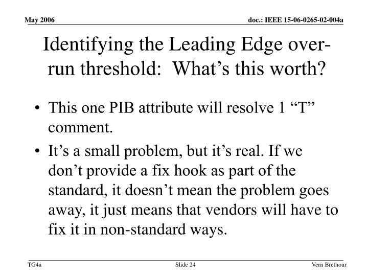 Identifying the Leading Edge over-run threshold:  What's this worth?