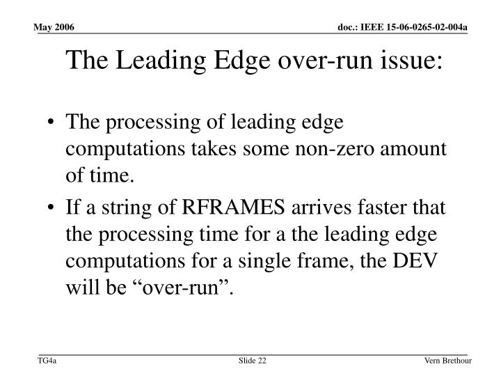 The Leading Edge over-run issue: