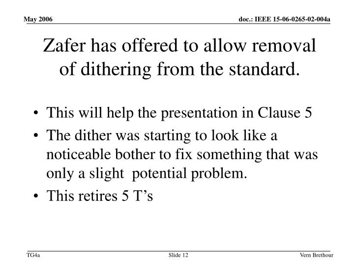 Zafer has offered to allow removal of dithering from the standard.