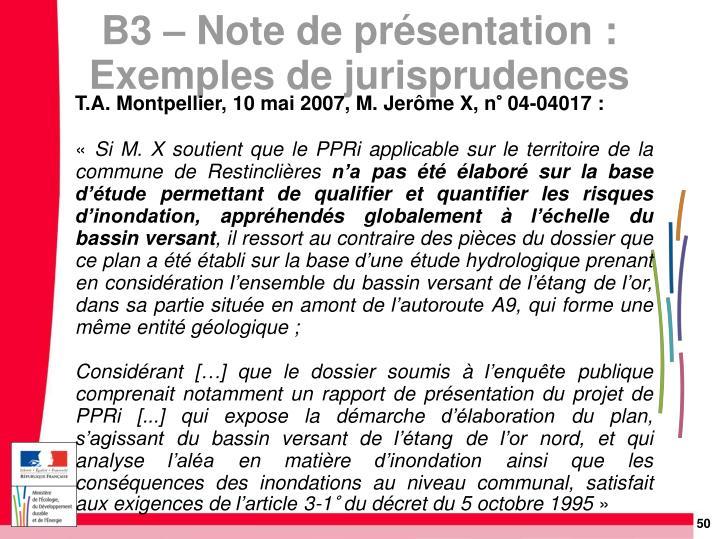 T.A. Montpellier, 10 mai 2007, M. Jerôme X, n° 04-04017: