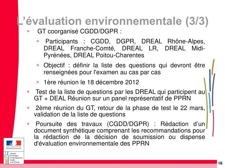 L'évaluation environnementale (3/3)