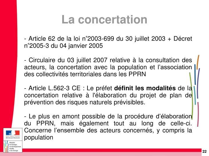 - Article 62 de la loi n°2003-699 du 30 juillet 2003 + Décret n°2005-3 du 04 janvier 2005
