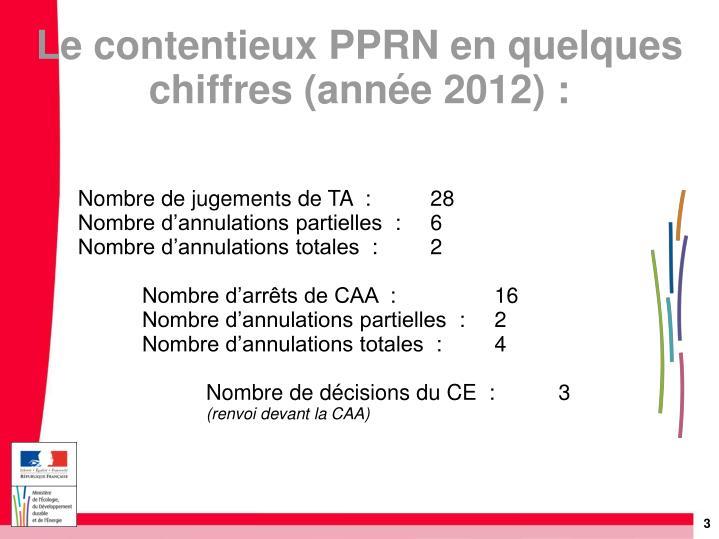 Le contentieux pprn en quelques chiffres ann e 2012