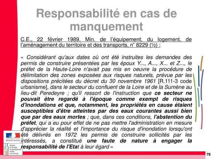 C.E., 22 février 1989, Min. de l'équipement, du logement, de l'aménagement du territoire et des transports, n° 8229 (½):