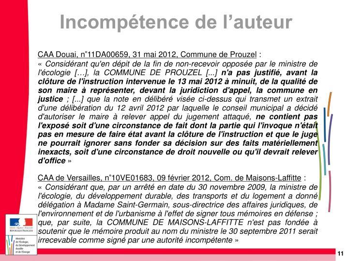 CAA Douai, n°11DA00659, 31 mai 2012, Commune de Prouzel