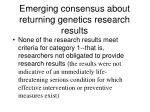 emerging consensus about returning genetics research results