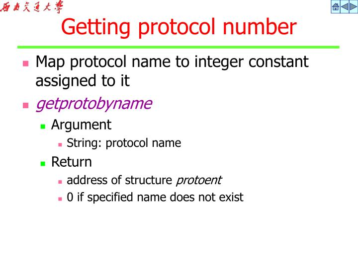 Map protocol name to integer constant assigned to it