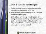 what is expected from hungary