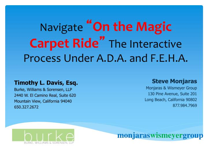 navigate on the magic carpet ride the interactive process under a d a and f e h a n.