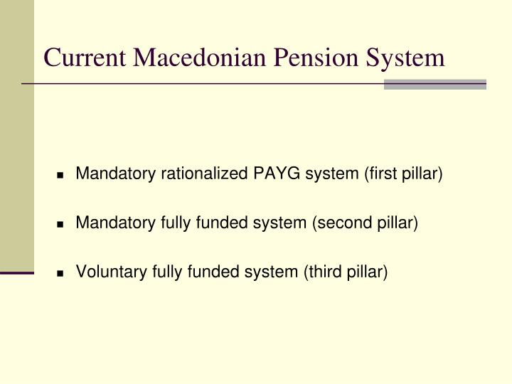 Current Macedonian Pension System