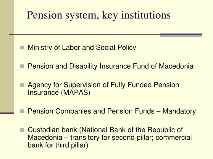Pension system key institutions