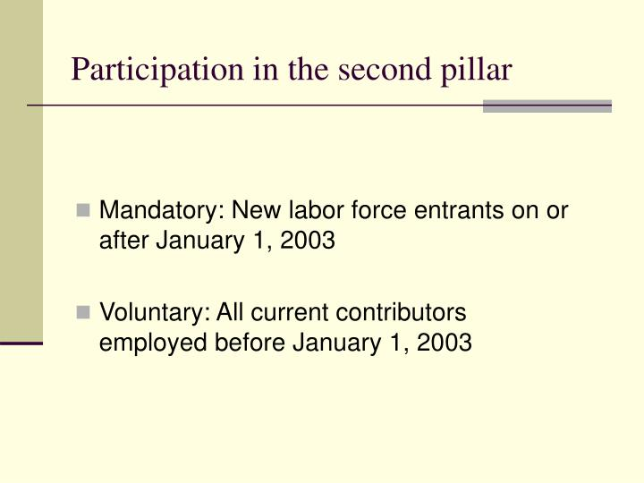 Participation in the second pillar