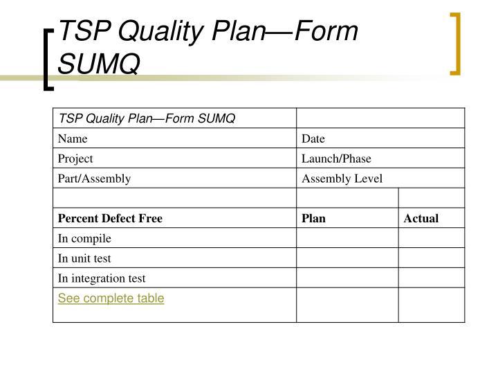 TSP Quality Plan—Form SUMQ