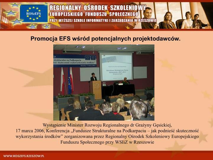Promocja EFS wśród potencjalnych projektodawców.