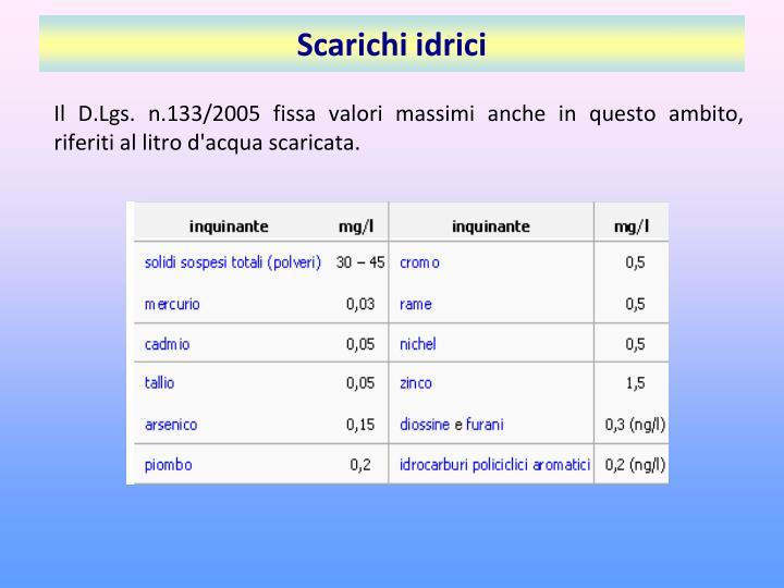 Il D.Lgs. n.133/2005 fissa valori massimi anche in questo ambito, riferiti al litro d'acqua scaricata.
