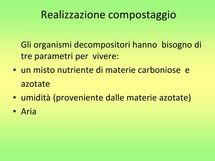 Realizzazione compostaggio